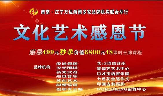 江宁文化艺术感恩节,不容错过499元抢报原价6800元精品课!还送豪华玩具!